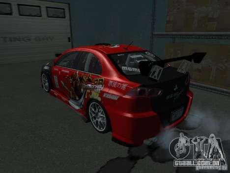 Mitsubishi Evolution X Stock-Tunable para GTA San Andreas vista interior