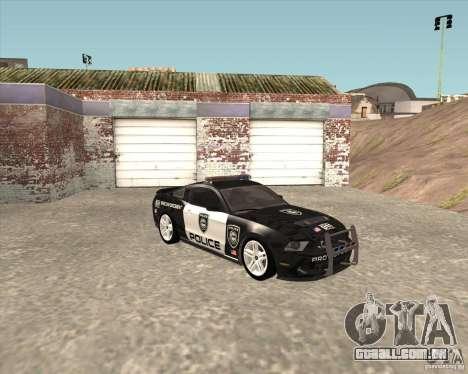 Ford Shelby GT500 2010 Police para GTA San Andreas traseira esquerda vista