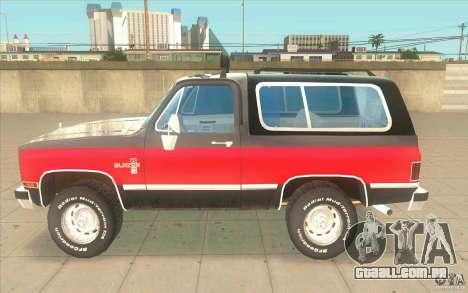 Chevrolet Blazer K5 Stock 1986 para GTA San Andreas esquerda vista