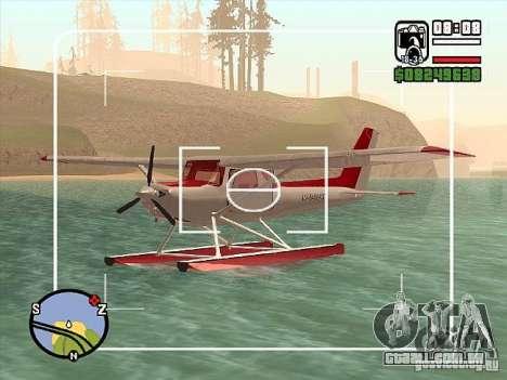Opção de água Cessna 152 para GTA San Andreas vista direita