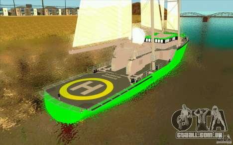 Rainbow Warrior para GTA San Andreas traseira esquerda vista
