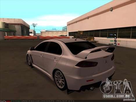 Mitsubishi Lancer Evolution X para GTA San Andreas traseira esquerda vista
