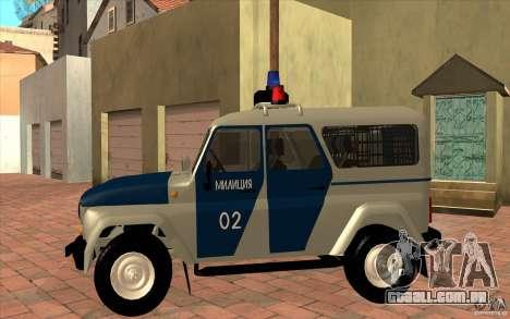 Polícia Bobik UAZ-3159, v. 2 para GTA San Andreas esquerda vista
