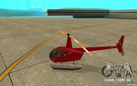 Robinson R44 Clipper II 1.0 para GTA San Andreas traseira esquerda vista