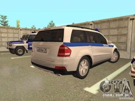 Mercedes Benz GL500 polícia para GTA San Andreas vista direita