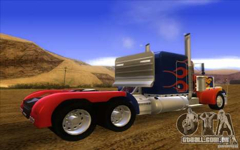 Truck Optimus Prime v2.0 para GTA San Andreas esquerda vista