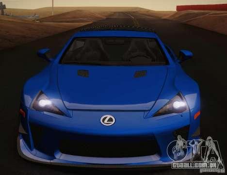 Lexus LFA Nürburgring desempenho pacote 2011 para o motor de GTA San Andreas