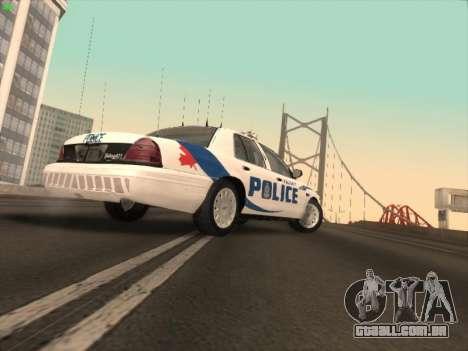 Ford Crown Victoria Vancouver Police para GTA San Andreas traseira esquerda vista