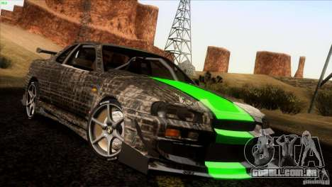Nissan Skyline R34 Drift para GTA San Andreas vista superior