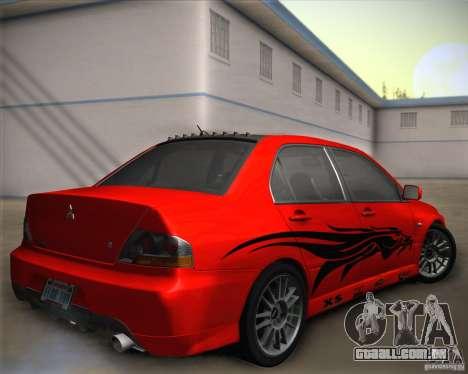 Mitsubishi Lancer Evolution IX Tunable para GTA San Andreas interior