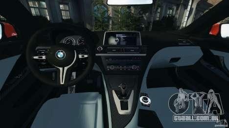 BMW M6 F13 2013 v1.0 para GTA 4 vista de volta