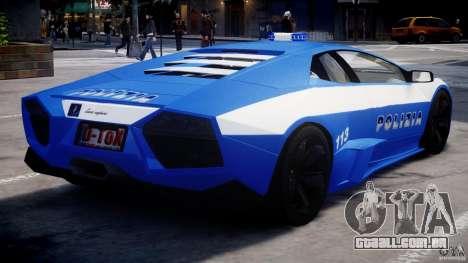 Lamborghini Reventon Polizia Italiana para GTA 4 vista direita