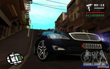 Mercedes - Benz S420 (W221) para GTA San Andreas traseira esquerda vista