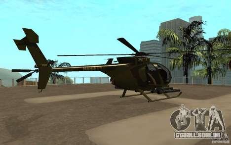AH 6 para GTA San Andreas traseira esquerda vista