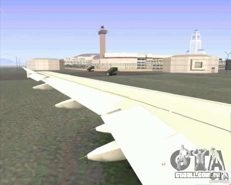 Avião Airbus A-320 UTair para GTA San Andreas vista traseira