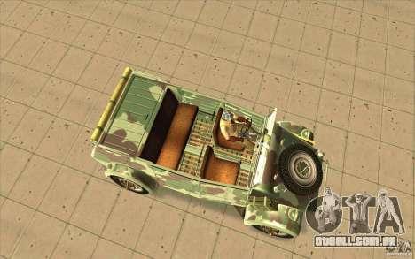 Kuebelwagen para GTA San Andreas vista direita