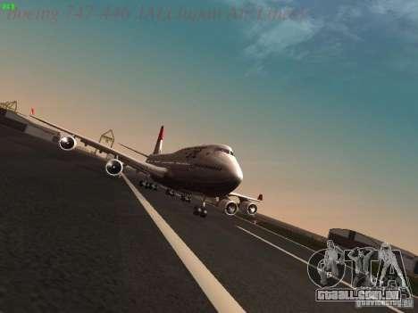 Boeing 747-446 Japan-Airlines para GTA San Andreas vista traseira