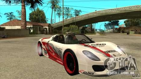 Porsche 918 Spyder Consept para GTA San Andreas vista traseira