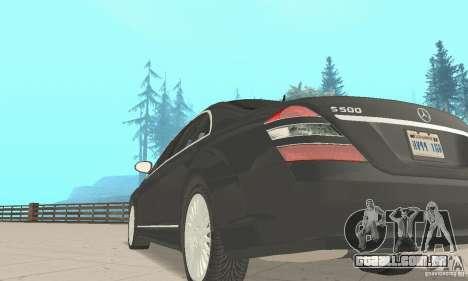 Mercedes-Benz S500 (w221) 2006 para GTA San Andreas vista traseira