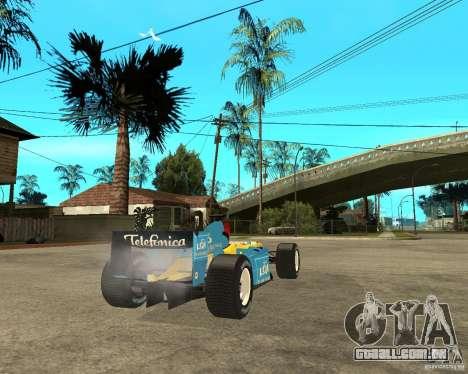 Renault F1 para GTA San Andreas traseira esquerda vista