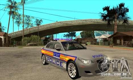 Metropolitan Police BMW 5 Series Saloon para GTA San Andreas vista traseira
