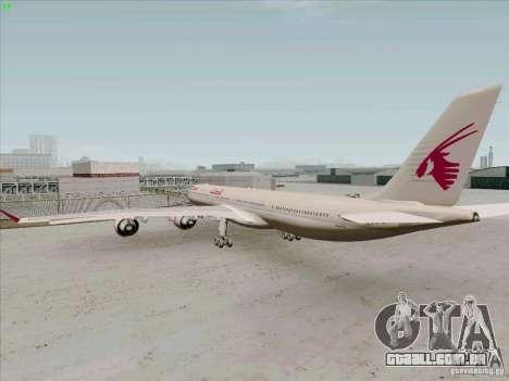 Airbus A-340-600 Quatar para GTA San Andreas vista direita