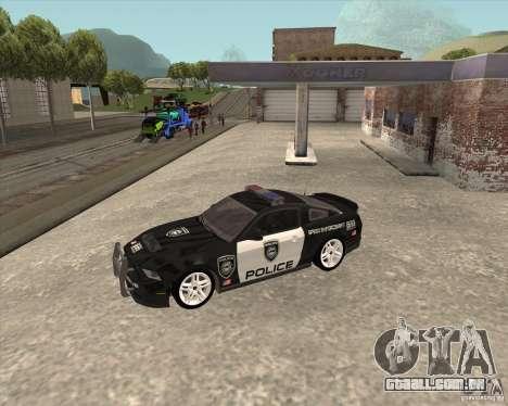 Ford Shelby GT500 2010 Police para GTA San Andreas vista traseira