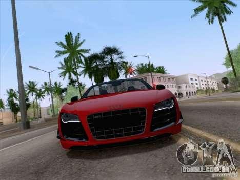 Audi R8 GT Spyder para GTA San Andreas traseira esquerda vista