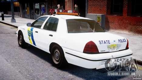 Ford Crown Victoria New Jersey State Police para GTA 4 vista direita