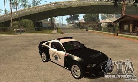 Shelby GT500 2010 Police para GTA San Andreas vista interior