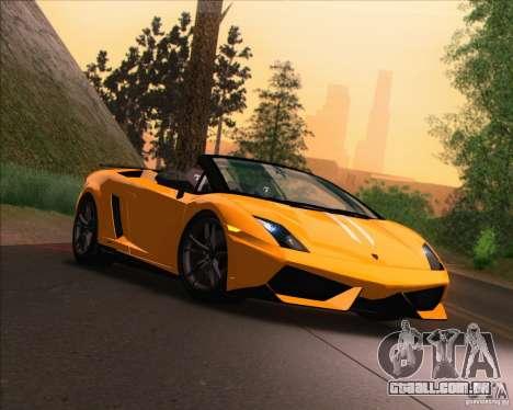 Lamborghini Gallardo LP570-4 Spyder Performante para GTA San Andreas traseira esquerda vista