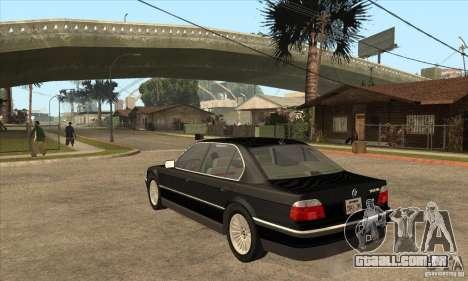 BMW E38 750IL para GTA San Andreas traseira esquerda vista