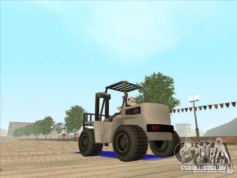 Forklift extreem v2 para GTA San Andreas traseira esquerda vista