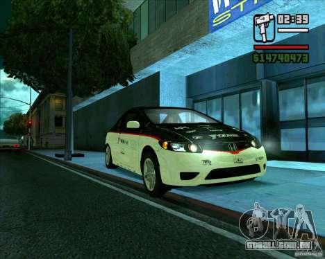 Honda Civic 2006 Coupe 1.1 para GTA San Andreas traseira esquerda vista