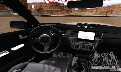 Mitsubishi Lancer EVO VIII BlackDevil para GTA San Andreas vista interior