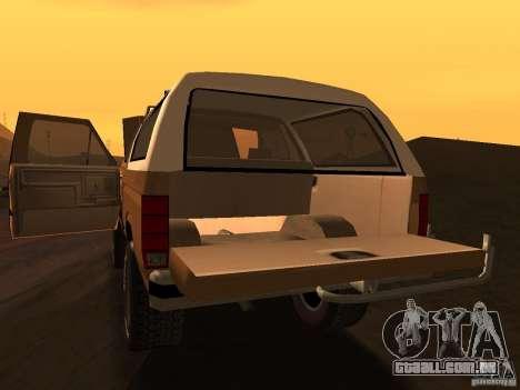 Ford Bronco 1985 para GTA San Andreas vista direita