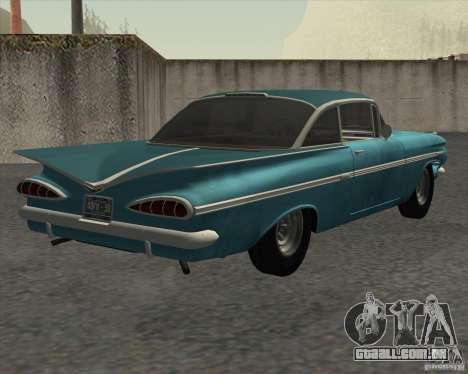 Chevrolet Impala Coupe 1959 Used para GTA San Andreas traseira esquerda vista