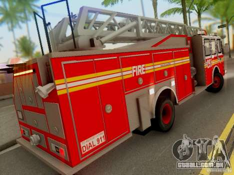 E-One FDNY Ladder 291 para GTA San Andreas vista traseira