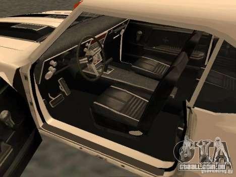Chevrolet Camaro SS 396 Turbo-Jet para GTA San Andreas vista interior