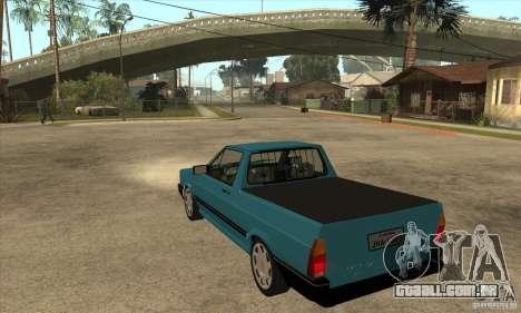 VW Saveiro GL 1989 para GTA San Andreas traseira esquerda vista