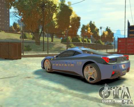 Ferrari 458 Italia Police para GTA 4 traseira esquerda vista