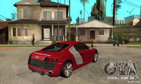 Audi R8 V10 para GTA San Andreas vista direita