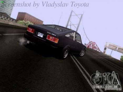 Toyota Corolla TE71 Coupe para GTA San Andreas traseira esquerda vista