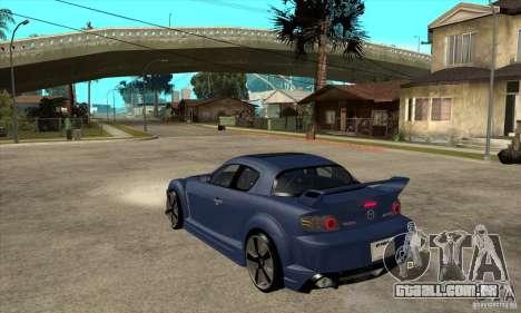 Mazda RX-8 v2 para GTA San Andreas traseira esquerda vista