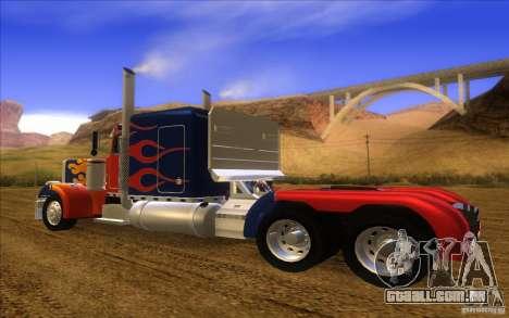Truck Optimus Prime v2.0 para GTA San Andreas traseira esquerda vista