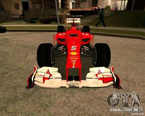Ferrari Scuderia F2012 para GTA San Andreas vista direita