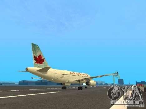 Airbus A319 Air Canada para GTA San Andreas vista direita