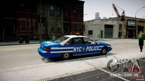 Chevrolet Caprice 1991 NYPD para GTA 4 esquerda vista