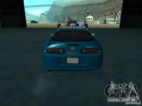 Toyota Supra California State Patrol para GTA San Andreas vista interior