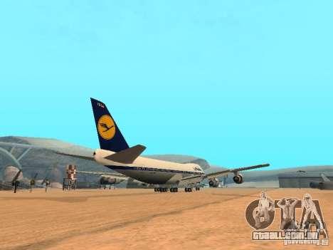 Boeing 747-100 Lufthansa para GTA San Andreas vista direita